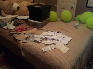 Behold the pile of receipts, leftover birthday party balloons, and Barry the giant bear.